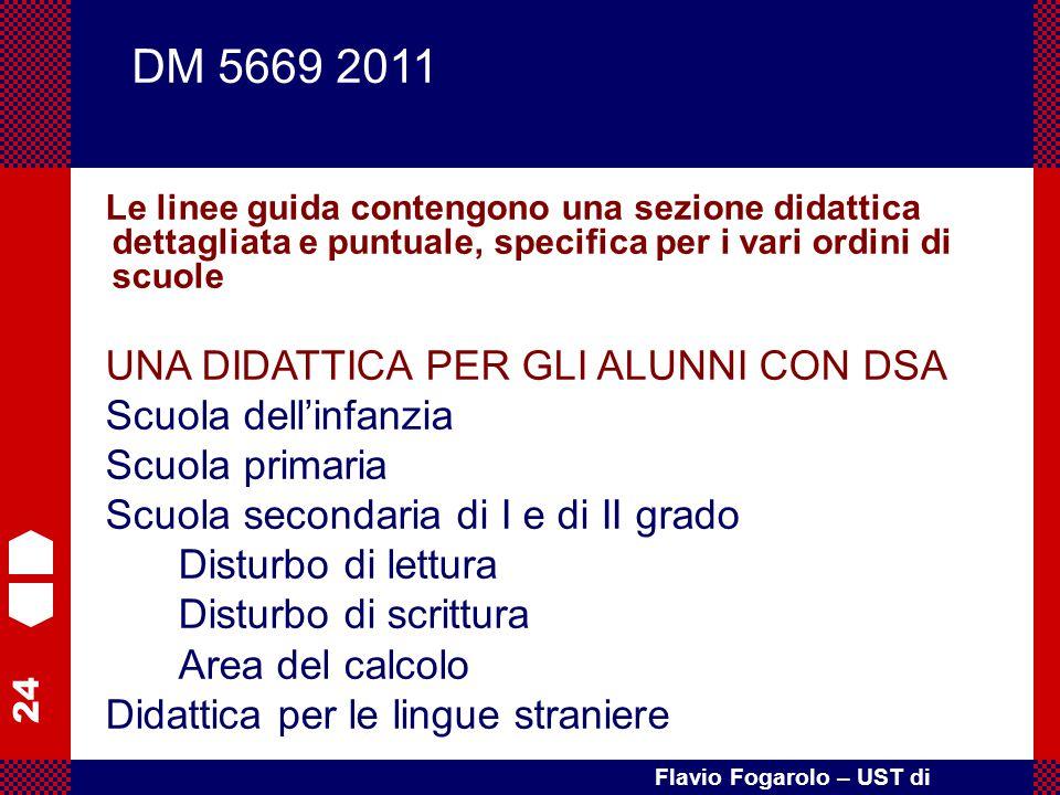 24 Flavio Fogarolo – UST di Vicenza Le linee guida contengono una sezione didattica dettagliata e puntuale, specifica per i vari ordini di scuole UNA