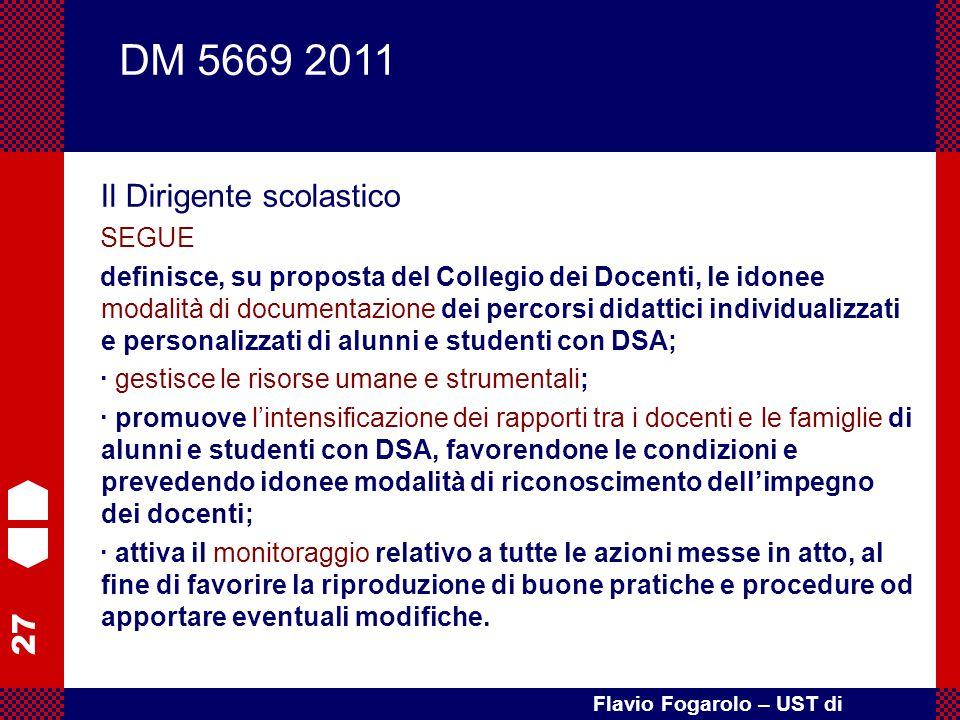 27 Flavio Fogarolo – UST di Vicenza Il Dirigente scolastico SEGUE definisce, su proposta del Collegio dei Docenti, le idonee modalità di documentazion