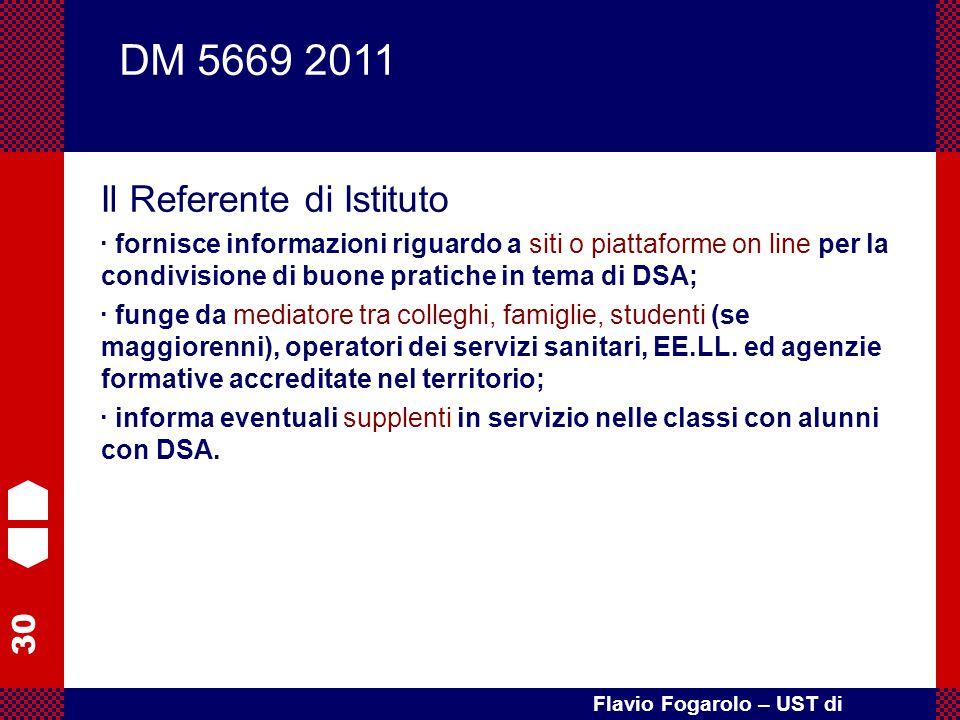 30 Flavio Fogarolo – UST di Vicenza Il Referente di Istituto · fornisce informazioni riguardo a siti o piattaforme on line per la condivisione di buon