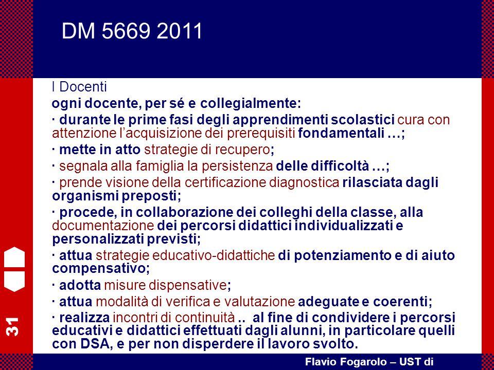 31 Flavio Fogarolo – UST di Vicenza I Docenti ogni docente, per sé e collegialmente: · durante le prime fasi degli apprendimenti scolastici cura con a