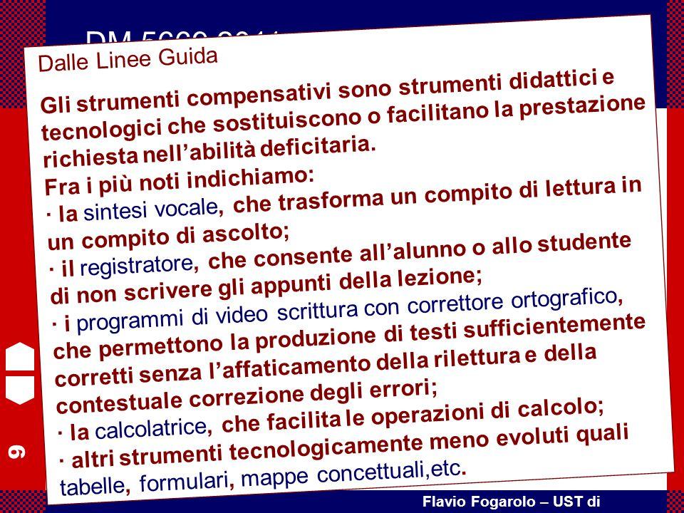 9 Flavio Fogarolo – UST di Vicenza Art. 4 – Misure educative e didattiche 4. Le Istituzioni scolastiche assicurano l'impiego degli opportuni strumenti