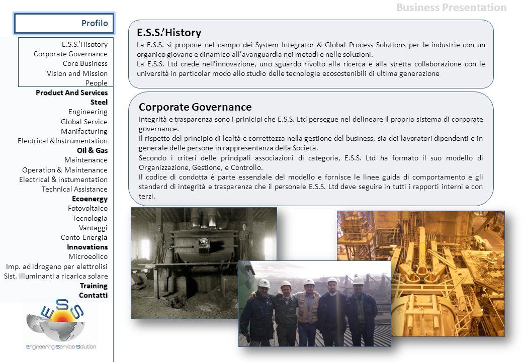 E.S.S.'History La E.S.S. si propone nel campo dei System Integrator & Global Process Solutions per le industrie con un organico giovane e dinamico all