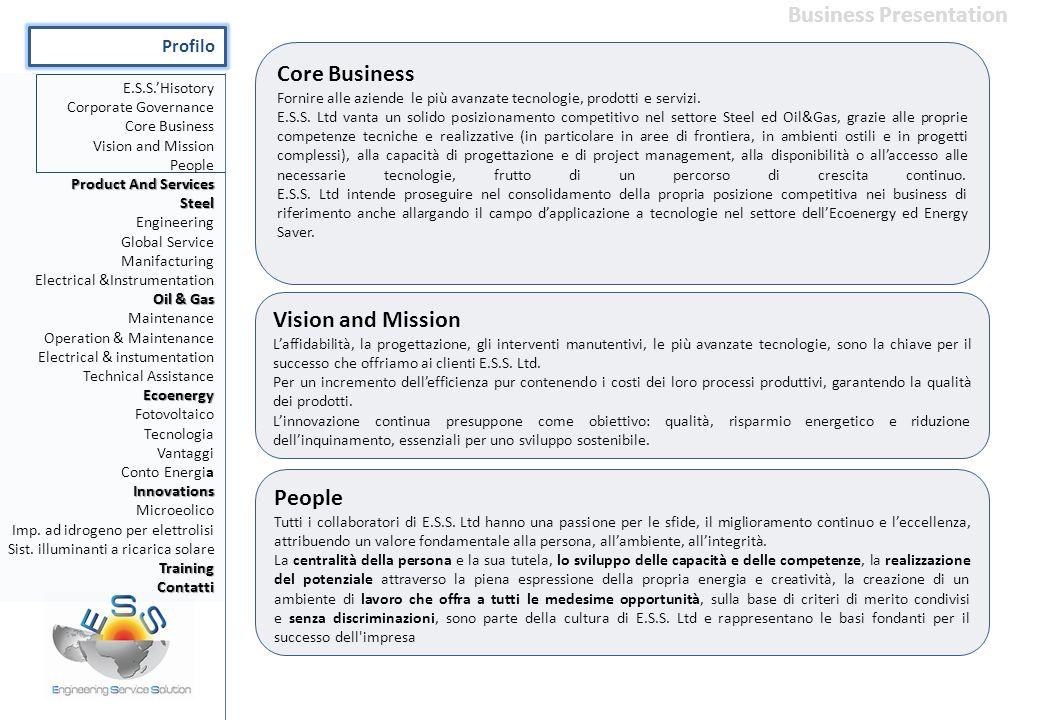 Core Business Fornire alle aziende le più avanzate tecnologie, prodotti e servizi. E.S.S. Ltd vanta un solido posizionamento competitivo nel settore S