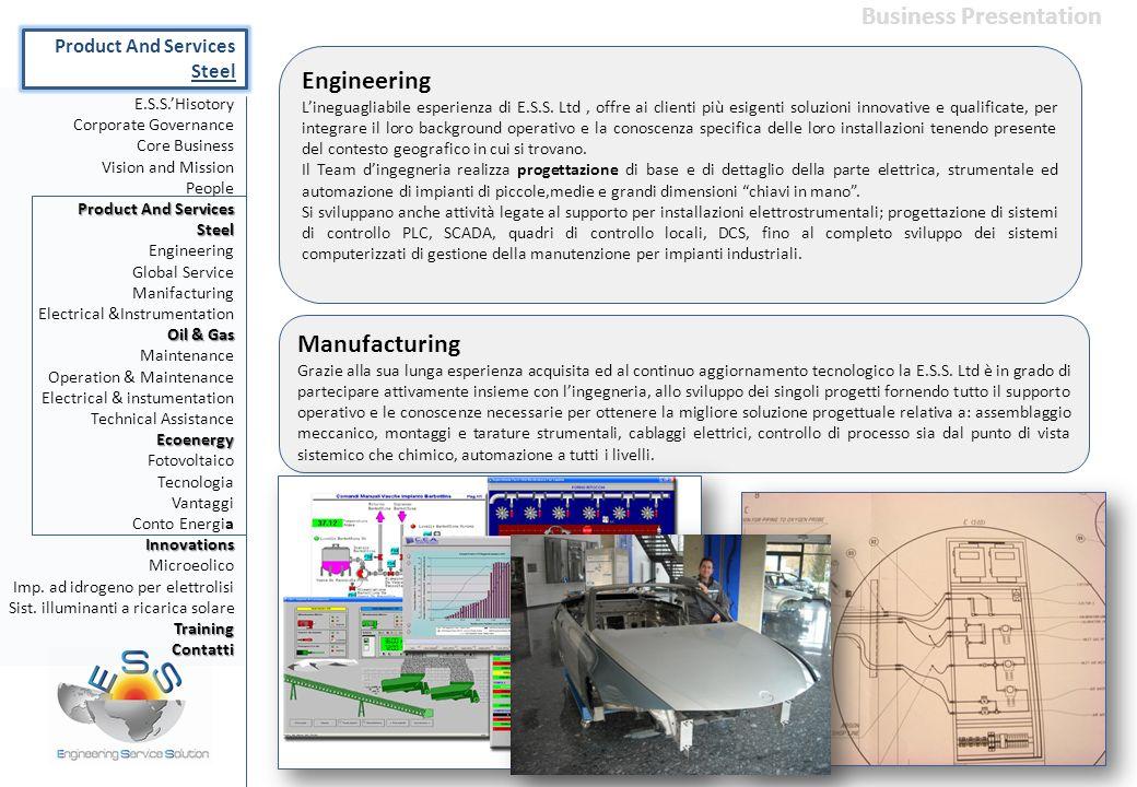 Engineering L'ineguagliabile esperienza di E.S.S. Ltd, offre ai clienti più esigenti soluzioni innovative e qualificate, per integrare il loro backgro