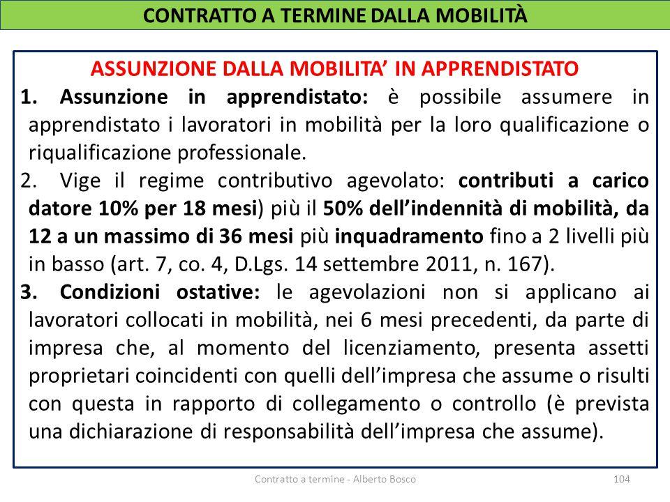 ASSUNZIONE DALLA MOBILITA' IN APPRENDISTATO 1.Assunzione in apprendistato: è possibile assumere in apprendistato i lavoratori in mobilità per la loro