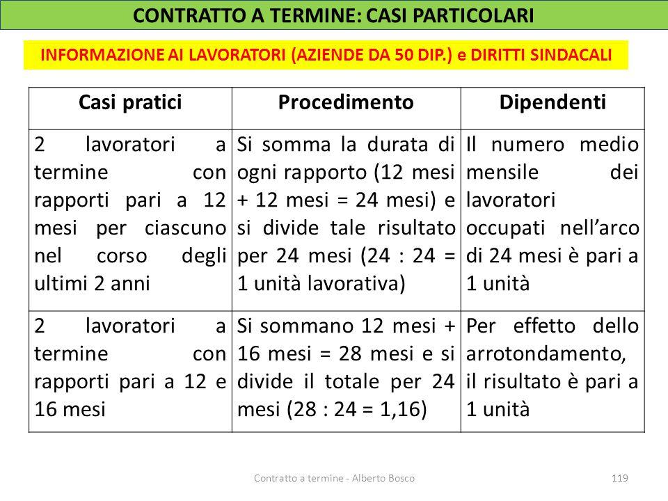 119Contratto a termine - Alberto Bosco INFORMAZIONE AI LAVORATORI (AZIENDE DA 50 DIP.) e DIRITTI SINDACALI Casi praticiProcedimentoDipendenti 2 lavora