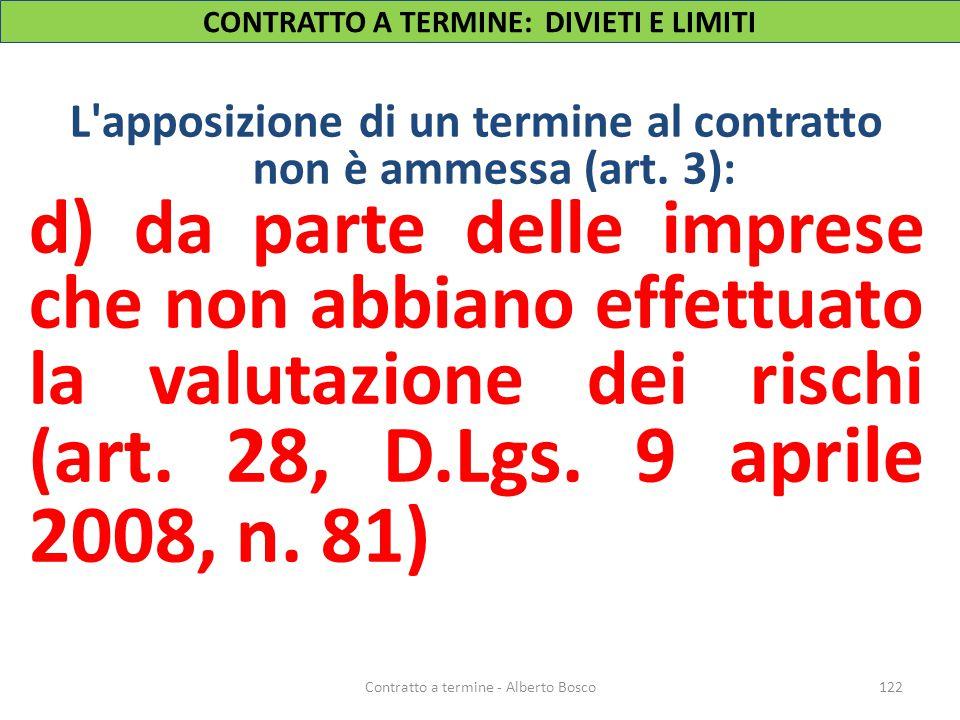 CONTRATTO A TERMINE: DIVIETI E LIMITI L'apposizione di un termine al contratto non è ammessa (art. 3): d) da parte delle imprese che non abbiano effet