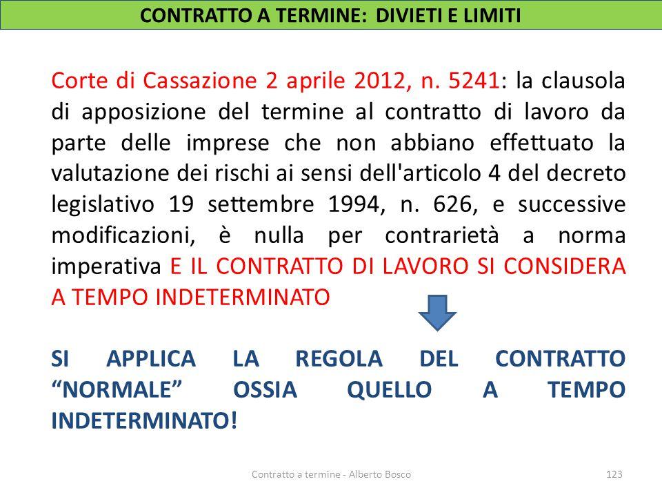 Corte di Cassazione 2 aprile 2012, n. 5241: la clausola di apposizione del termine al contratto di lavoro da parte delle imprese che non abbiano effet