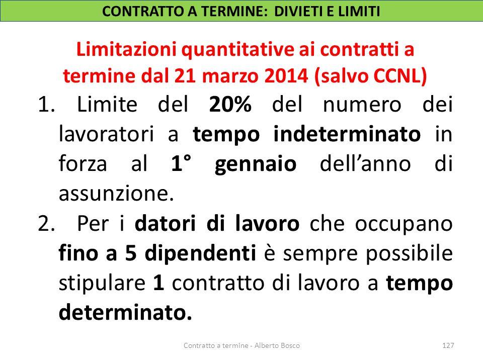 Limitazioni quantitative ai contratti a termine dal 21 marzo 2014 (salvo CCNL) 1.Limite del 20% del numero dei lavoratori a tempo indeterminato in for