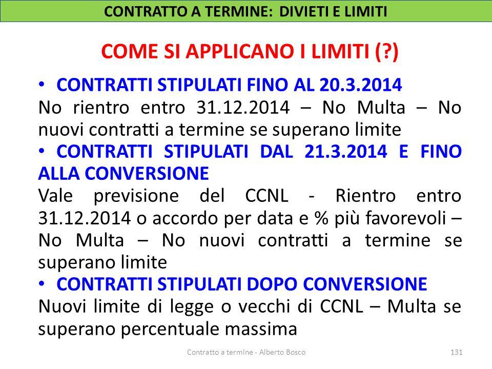 COME SI APPLICANO I LIMITI (?) CONTRATTI STIPULATI FINO AL 20.3.2014 No rientro entro 31.12.2014 – No Multa – No nuovi contratti a termine se superano