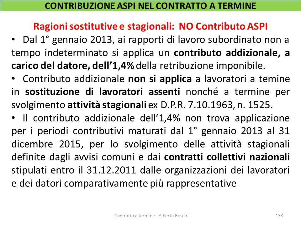 CONTRIBUZIONE ASPI NEL CONTRATTO A TERMINE Ragioni sostitutive e stagionali: NO Contributo ASPI Dal 1° gennaio 2013, ai rapporti di lavoro subordinato