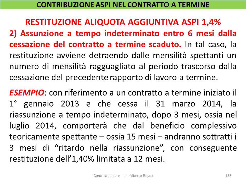 RESTITUZIONE ALIQUOTA AGGIUNTIVA ASPI 1,4% 2) Assunzione a tempo indeterminato entro 6 mesi dalla cessazione del contratto a termine scaduto. In tal c
