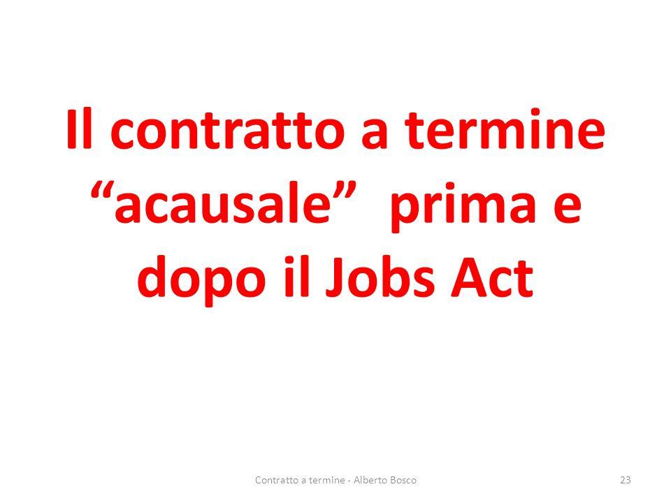 """Il contratto a termine """"acausale"""" prima e dopo il Jobs Act Contratto a termine - Alberto Bosco23"""