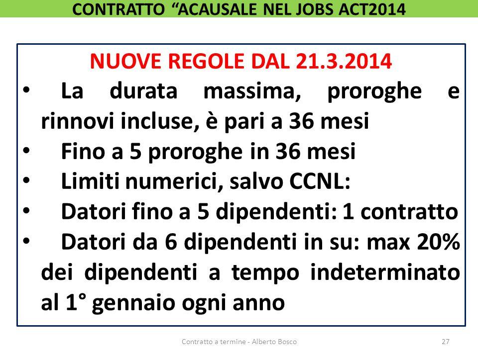 NUOVE REGOLE DAL 21.3.2014 La durata massima, proroghe e rinnovi incluse, è pari a 36 mesi Fino a 5 proroghe in 36 mesi Limiti numerici, salvo CCNL: D