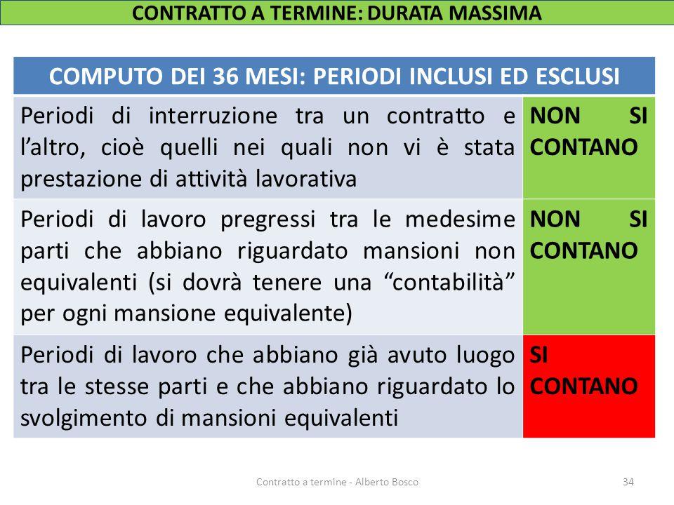 CONTRATTO A TERMINE: DURATA MASSIMA COMPUTO DEI 36 MESI: PERIODI INCLUSI ED ESCLUSI Periodi di interruzione tra un contratto e l'altro, cioè quelli ne