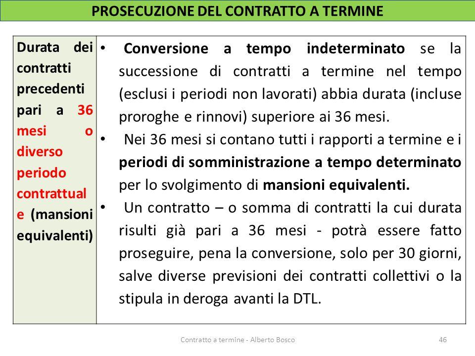 Durata dei contratti precedenti pari a 36 mesi o diverso periodo contrattual e (mansioni equivalenti) Conversione a tempo indeterminato se la successi