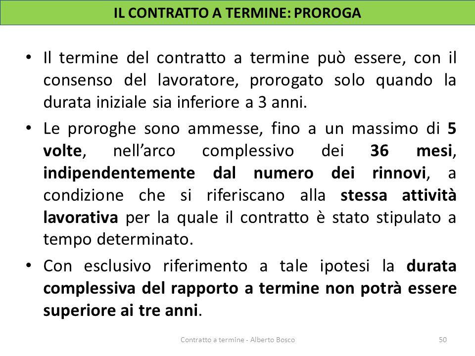 Il termine del contratto a termine può essere, con il consenso del lavoratore, prorogato solo quando la durata iniziale sia inferiore a 3 anni. Le pro