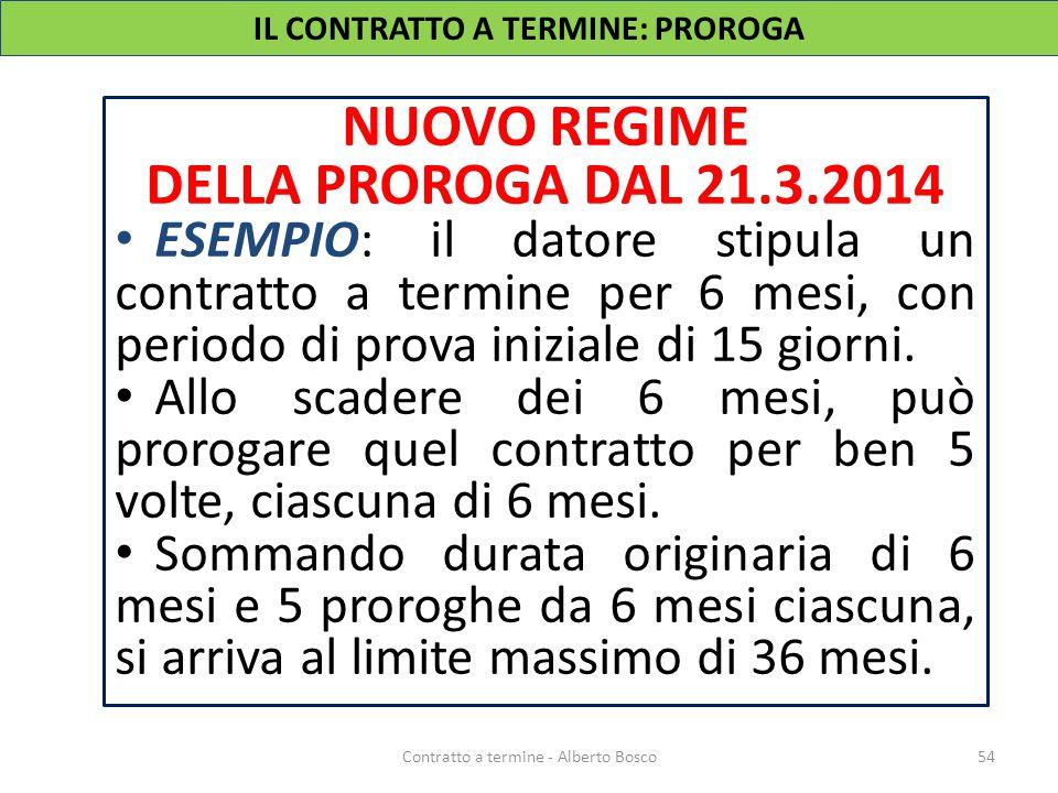 NUOVO REGIME DELLA PROROGA DAL 21.3.2014 ESEMPIO: il datore stipula un contratto a termine per 6 mesi, con periodo di prova iniziale di 15 giorni. All