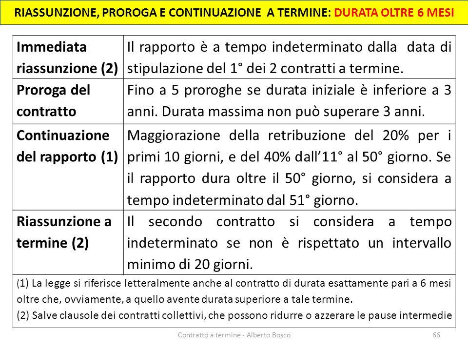 66Contratto a termine - Alberto Bosco Immediata riassunzione (2) Il rapporto è a tempo indeterminato dalla data di stipulazione del 1° dei 2 contratti