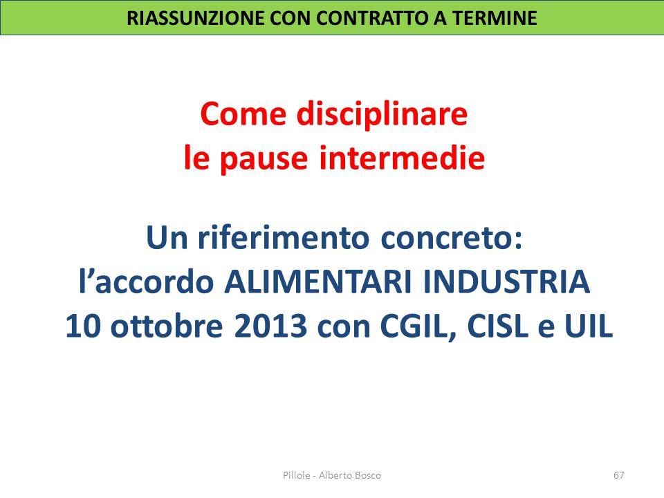 Come disciplinare le pause intermedie Un riferimento concreto: l'accordo ALIMENTARI INDUSTRIA 10 ottobre 2013 con CGIL, CISL e UIL 67Pillole - Alberto