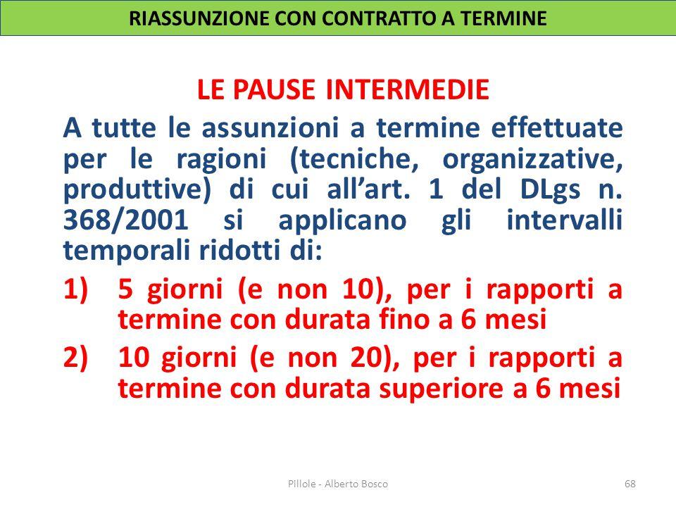LE PAUSE INTERMEDIE A tutte le assunzioni a termine effettuate per le ragioni (tecniche, organizzative, produttive) di cui all'art. 1 del DLgs n. 368/