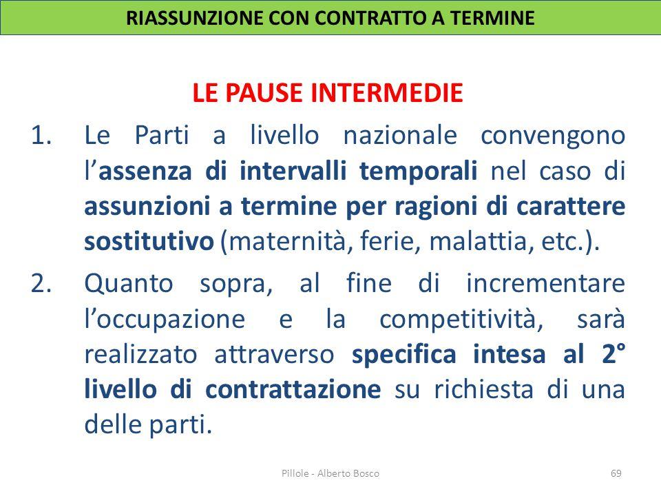 LE PAUSE INTERMEDIE 1.Le Parti a livello nazionale convengono l'assenza di intervalli temporali nel caso di assunzioni a termine per ragioni di caratt