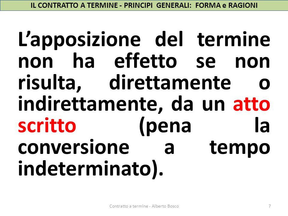 IL CONTRATTO A TERMINE - PRINCIPI GENERALI: FORMA e RAGIONI L'apposizione del termine non ha effetto se non risulta, direttamente o indirettamente, da