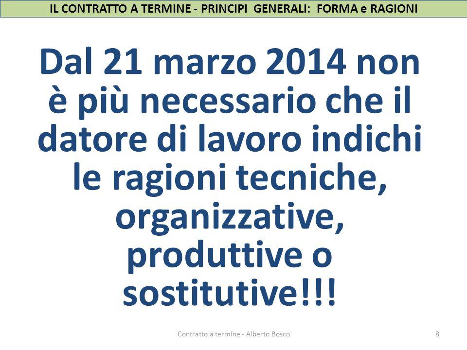 IL CONTRATTO A TERMINE - PRINCIPI GENERALI: FORMA e RAGIONI Dal 21 marzo 2014 non è più necessario che il datore di lavoro indichi le ragioni tecniche