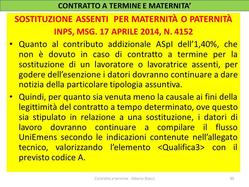 SOSTITUZIONE ASSENTI PER MATERNITÀ O PATERNITÀ INPS, MSG. 17 APRILE 2014, N. 4152 Quanto al contributo addizionale ASpI dell'1,40%, che non è dovuto i