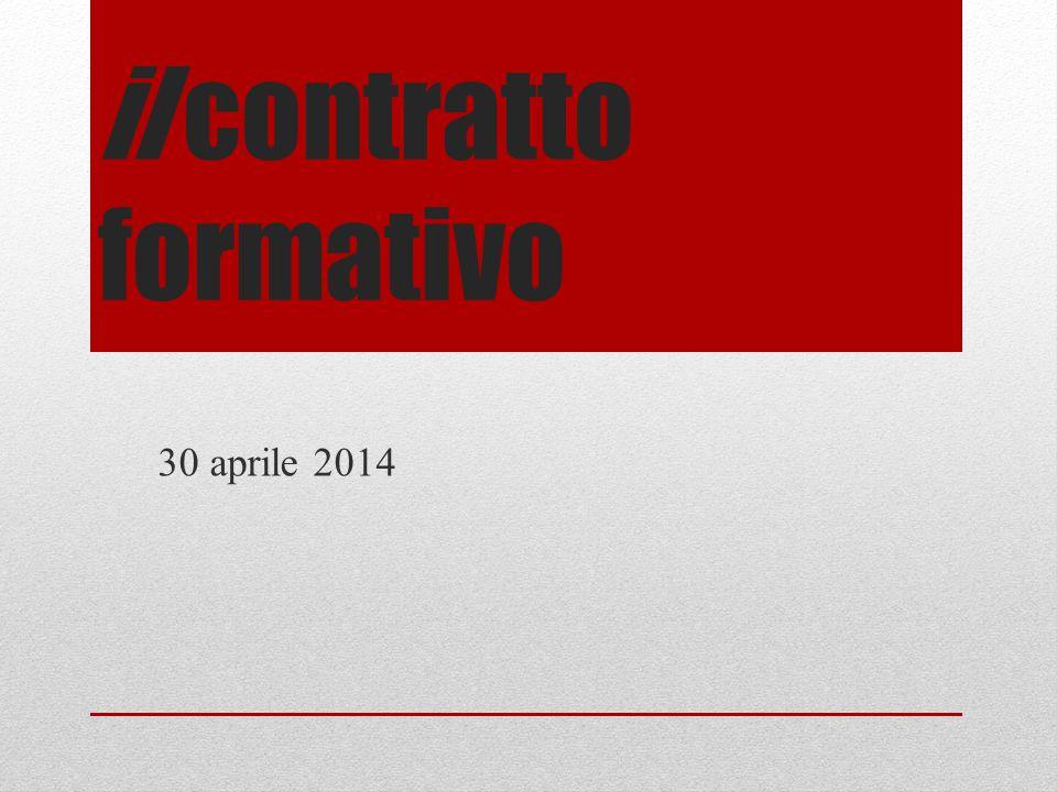 il contratto formativo 30 aprile 2014