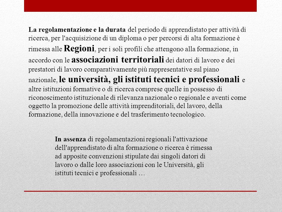 La regolamentazione e la durata del periodo di apprendistato per attività di ricerca, per l'acquisizione di un diploma o per percorsi di alta formazio