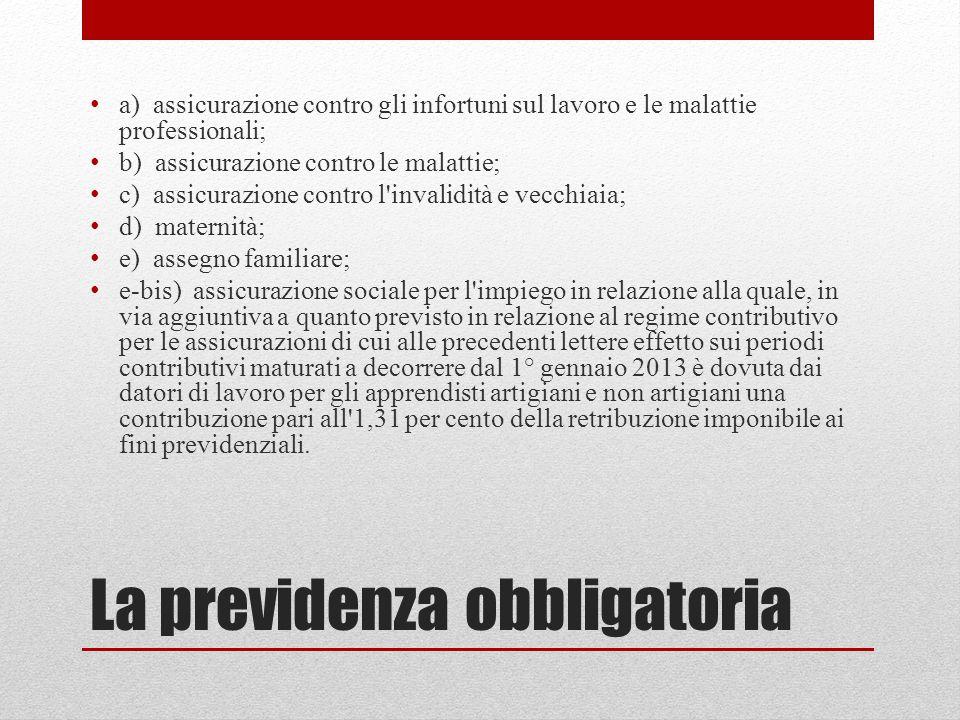 La previdenza obbligatoria a) assicurazione contro gli infortuni sul lavoro e le malattie professionali; b) assicurazione contro le malattie; c) assic