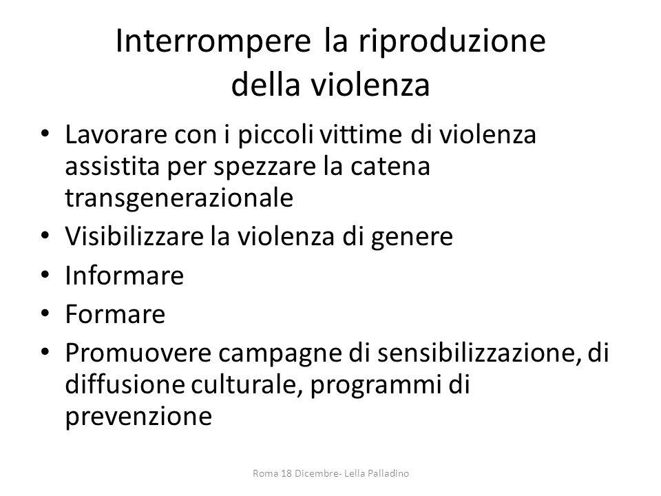 Interrompere la riproduzione della violenza Lavorare con i piccoli vittime di violenza assistita per spezzare la catena transgenerazionale Visibilizza