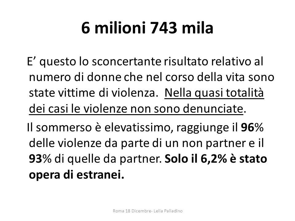 6 milioni 743 mila E' questo lo sconcertante risultato relativo al numero di donne che nel corso della vita sono state vittime di violenza. Nella quas