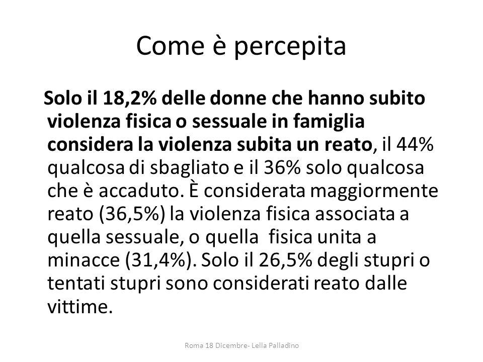 Come è percepita Solo il 18,2% delle donne che hanno subito violenza fisica o sessuale in famiglia considera la violenza subita un reato, il 44% qualc