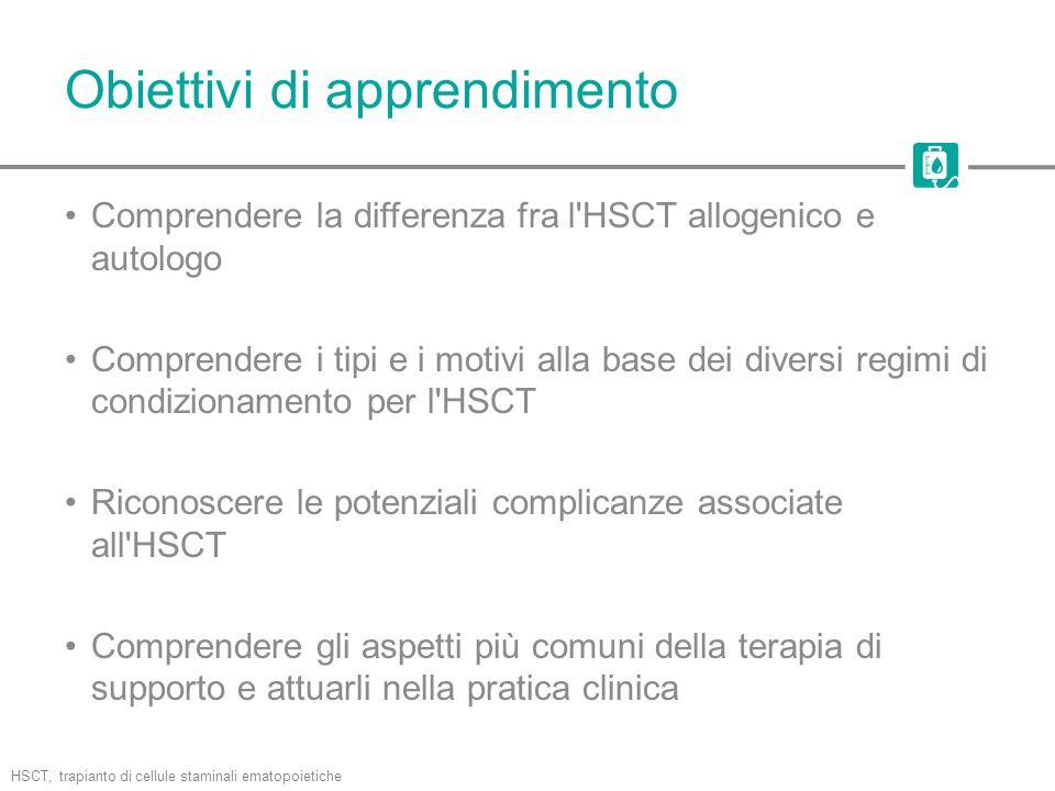 Obiettivi di apprendimento Comprendere la differenza fra l'HSCT allogenico e autologo Comprendere i tipi e i motivi alla base dei diversi regimi di co
