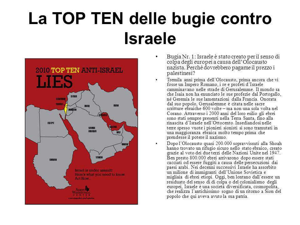 La TOP TEN delle bugie contro Israele Bugia Nr. 1: Israele è stato creato per il senso di colpa degli europei a causa dell'Olocausto nazista. Perché d