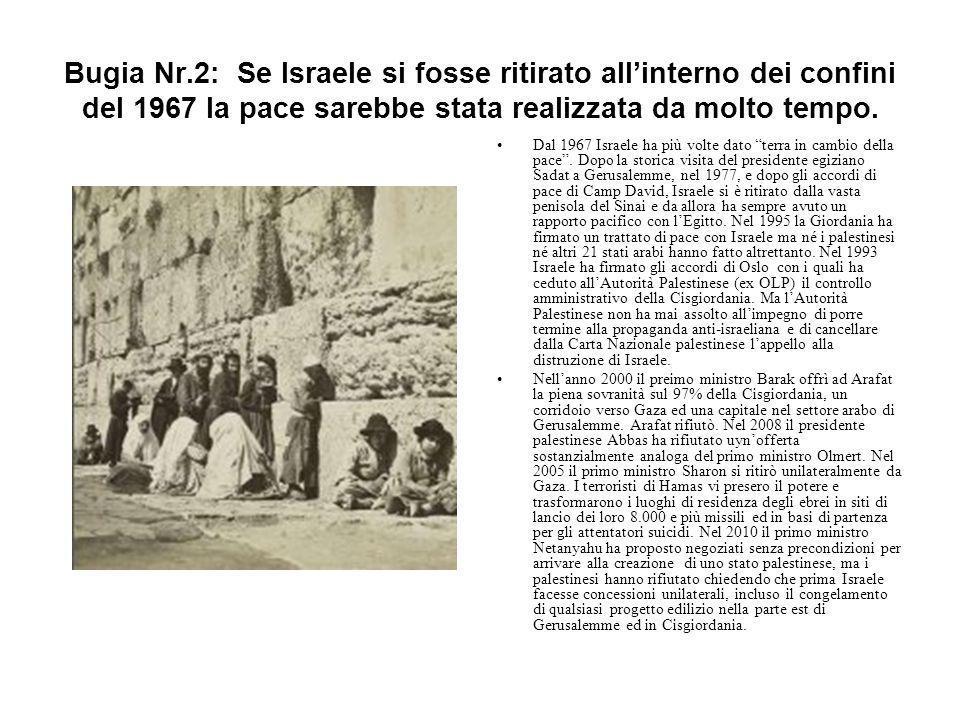 Bugia Nr.2: Se Israele si fosse ritirato all'interno dei confini del 1967 la pace sarebbe stata realizzata da molto tempo. Dal 1967 Israele ha più vol