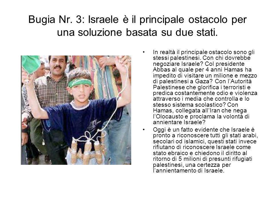 Bugia Nr. 3: Israele è il principale ostacolo per una soluzione basata su due stati. In realtà il principale ostacolo sono gli stessi palestinesi. Con