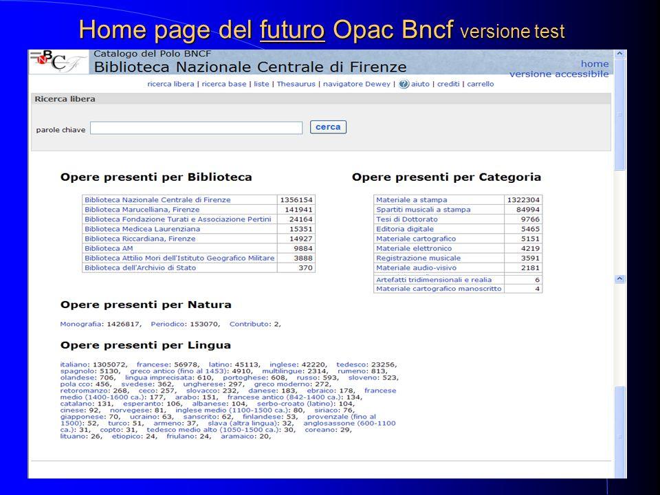 11 Home page del futuro Opac Bncf versione test