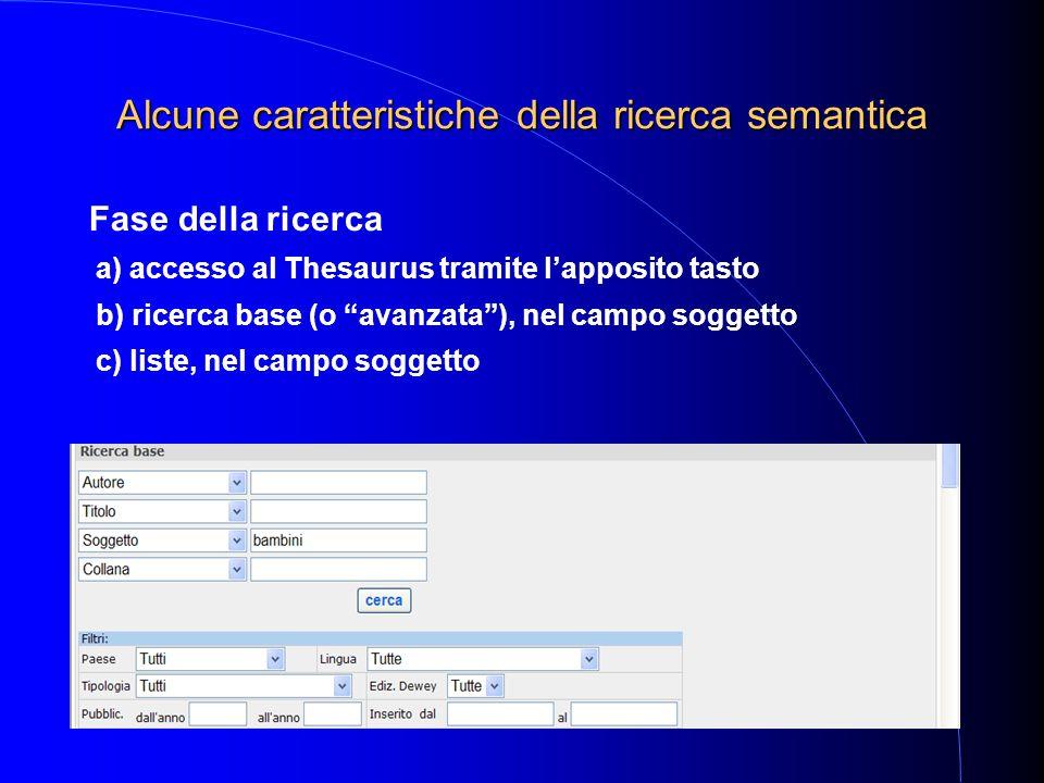 Alcune caratteristiche della ricerca semantica Fase della ricerca a) accesso al Thesaurus tramite l'apposito tasto b) ricerca base (o avanzata ), nel campo soggetto c) liste, nel campo soggetto
