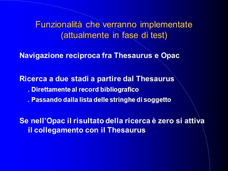 Funzionalità che verranno implementate (attualmente in fase di test) Navigazione reciproca fra Thesaurus e Opac Ricerca a due stadi a partire dal Thesaurus.