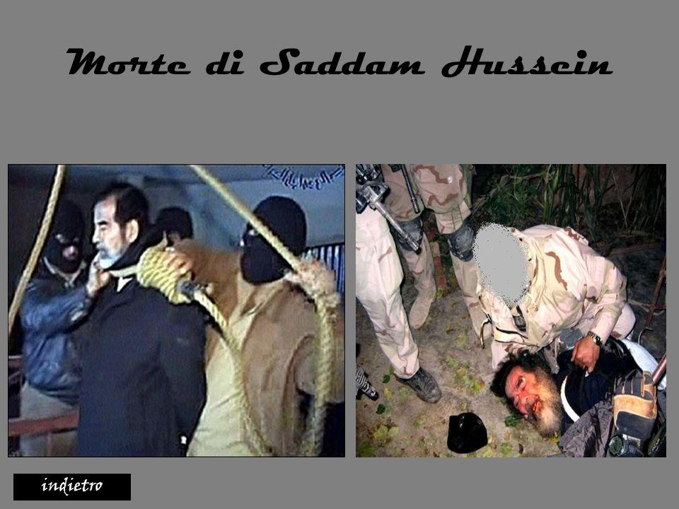 La morte di Saddam la storia recente ha visto la fine di questo satrapo mediorientale, grazie all entrata delle truppe americane a Baghdad, in seguito alla guerra scatenata contro di lui dal presidente americano Bush.