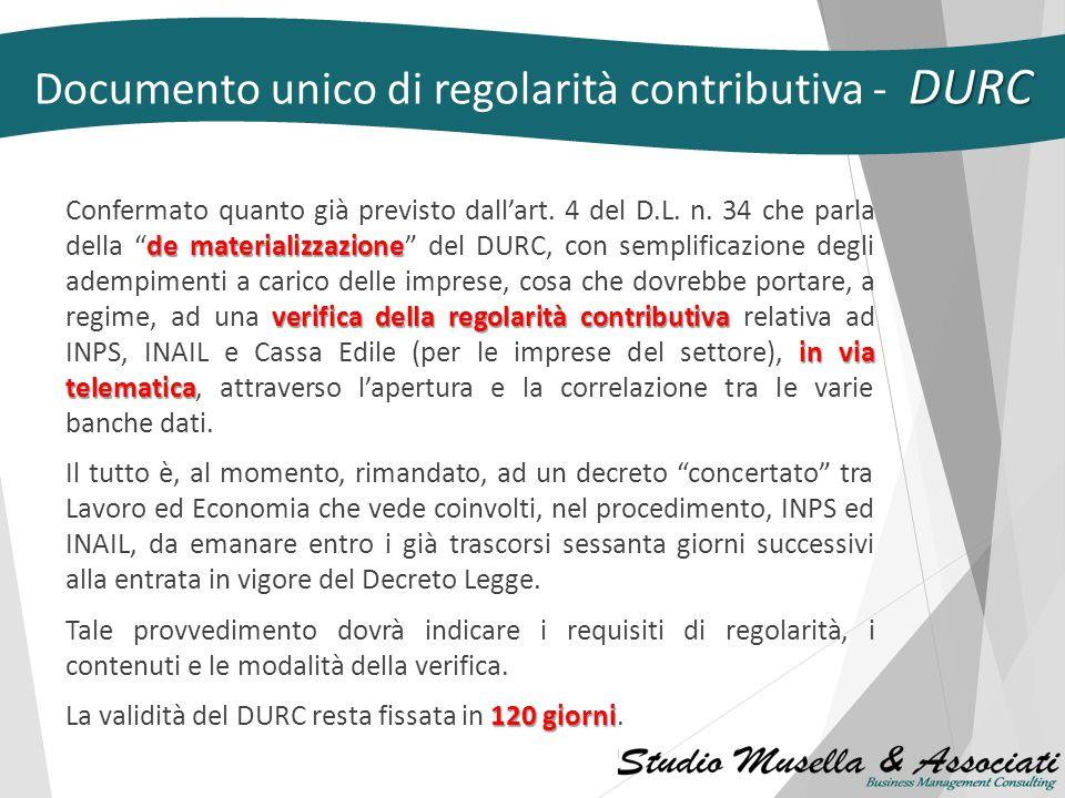 DISCIPLINA TRANSITORIA Le nuove disposizioni si applicano unicamente ai contratti stipulati a decorrere dall'entrata in vigore del provvedimento. L.78