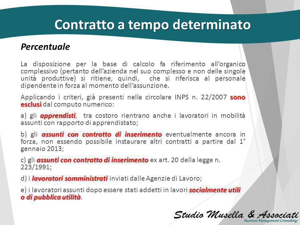 Percentuale Percentuale Contratto a tempo determinato Il numero complessivo dei rapporti, non può superare il 20% dell'organico complessivo. Le impres