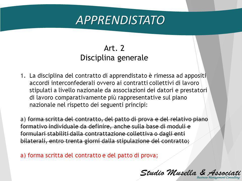 APPRENDISTATO DECRETO LEGISLATIVO 14 settembre 2011, n. 167 Testo unico dell'apprendistato le modifiche apportate dal Decreto Legge 20 marzo 2014, n.