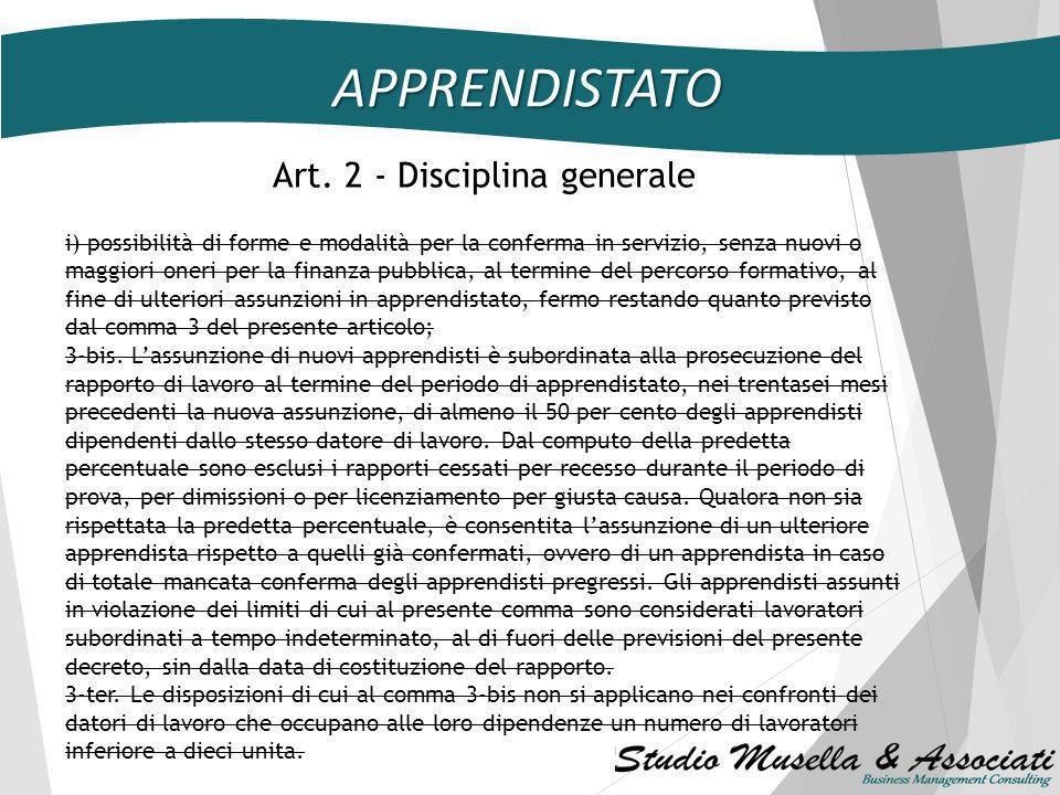 APPRENDISTATO Art. 2 Disciplina generale 1.La disciplina del contratto di apprendistato è rimessa ad appositi accordi interconfederali ovvero ai contr