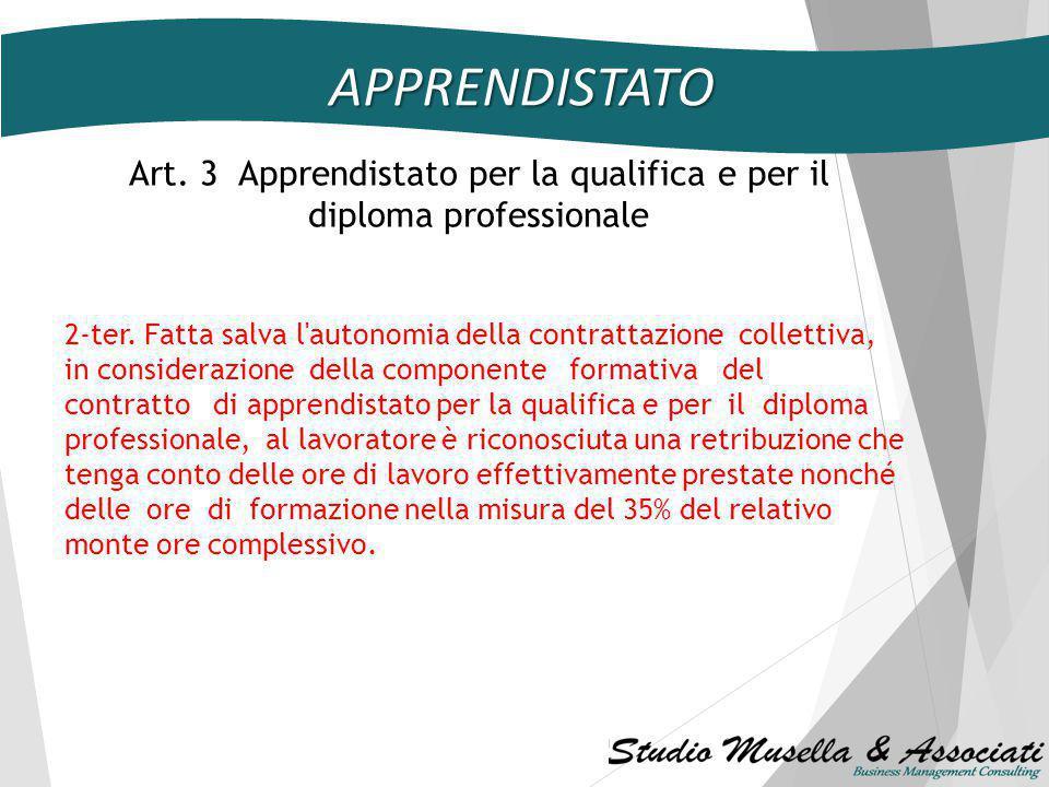 APPRENDISTATO Art. 2 - Disciplina generale i) possibilità di forme e modalità per la conferma in servizio, senza nuovi o maggiori oneri per la finanza
