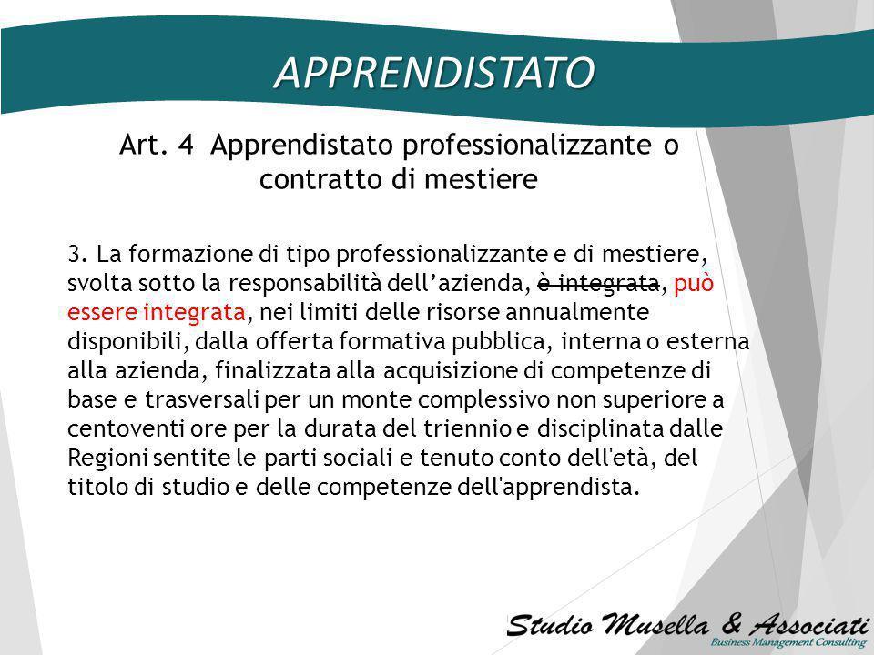 APPRENDISTATO Art. 3 Apprendistato per la qualifica e per il diploma professionale 2-ter. Fatta salva l'autonomia della contrattazione collettiva, in
