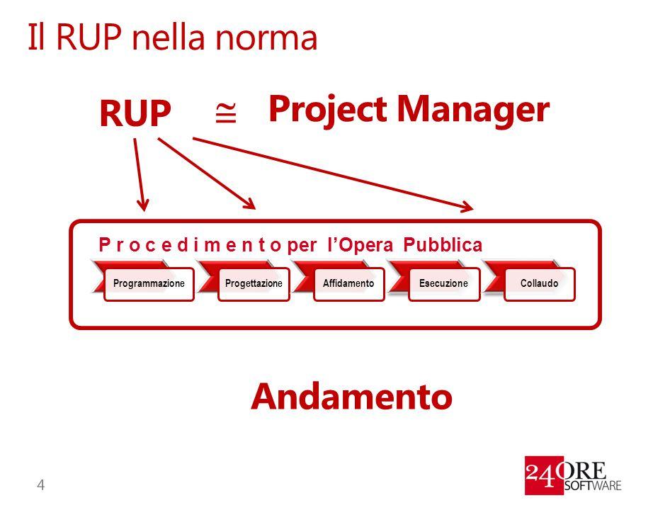Il RUP nella norma ProgrammazioneProgettazioneAffidamentoEsecuzioneCollaudo P r o c e d i m e n t o per l'Opera Pubblica RUP  Project Manager Andamen